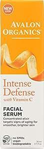 Avalon Organics Intense Defense with Vitamin C, Facial Serum 1 oz (Pack of 2)
