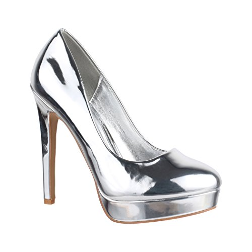 Femmes Silber Chaussures Lion Fête Talons Escarpins Vernies Elara Plateau Hauts Metallic RqwgwA