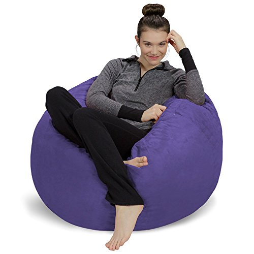 Sofa Sack - Plush, Ultra Soft Bean Bag Chair - Memory Foam Bean Bag Chair with Microsuede Cover - Stuffed Foam Filled Furniture and Accessories for Dorm Room - Purple 3'