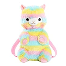 Cuddly Plush Stuffed Llama Rainbow Alpaca Doll Backpack Knapsack Shoulder Bag