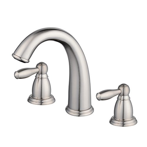 Beelee BL3020N-3 Contemporary Widespread 2 Handle 3 Hole Centerset Bathroom Sink Faucet Lavatory Vanity Faucet,Nickel Brushed