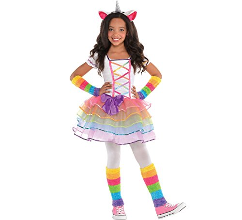 Amscan Rainbow Unicorn Halloween Costume for Girls, Medium with Included Accessories -