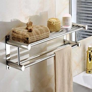 Fence Twice Wrack   Stainless Steel Layer Towel Wall Mounted Bathroom Storage Shelf Rack Cloth Holder   Double Equivocal Bulwark Threefold Scud Doubly Single Foot Two Baser   1Pcs