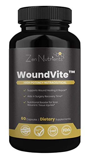 Amerigel Wound Dressing - WoundVite - Wound Healing Supplement - The Most Comprehensive Wound, Scar, Post-Surgical Repair Formula - 100% Natural & GMO Free - 60 Caps