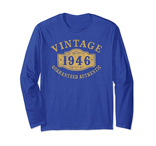 Unisex 1946 Authentic 72 years old 72nd B-day Birthday Gift T-Shirt XL: Royal Blue (Authentic Vintage T-shirts)