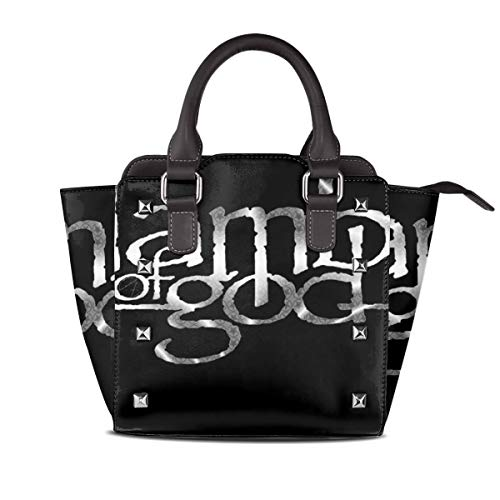 HOUMDP Lamb Of God Women's Popular Leather Rivet Shoulder Bag One Size Black