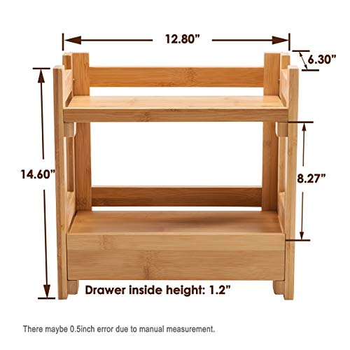 GOBAM Makeup Organizer Holder Cosmetic Storage Bathroom Organizer Display Shelf with Drawer Large Capacity and Easily Assembled Suitable for Mom or Wife, Natural Bamboo