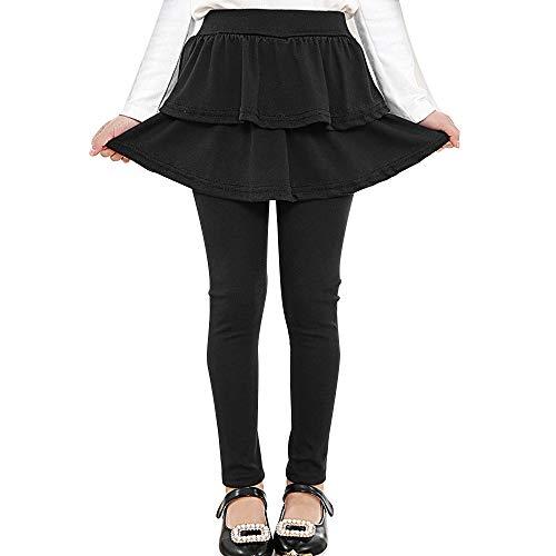 (Auranso Girl Footless Leggings with Ruffle Tutu Skirt Pants Black 6-7 Years)