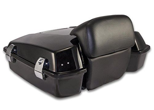 Bagger Brothers BB-HD1584-036 Vivid Black Razor Tour Pak TRUNK with Chopped Backrest