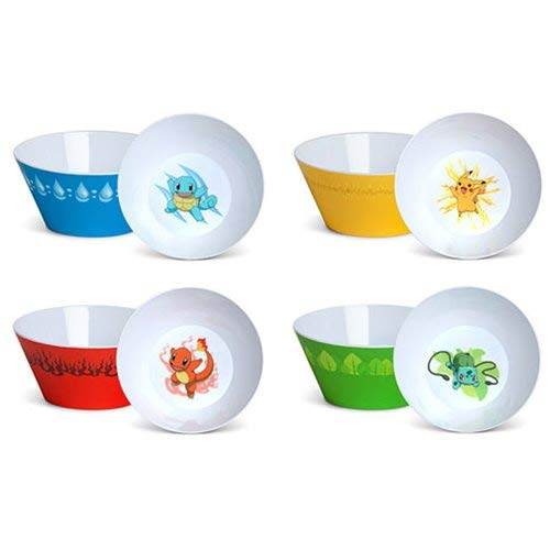 Pokemon Cereal Bowl Set by ThinkGeek (4 Bowls) -