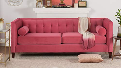 Tremendous Jennifer Taylor Home Jack Collection Modern Hand Tufted Upholstered Sofa With 2 Bolster Pillows And Hand Finish Legs Garnet Rose Pdpeps Interior Chair Design Pdpepsorg