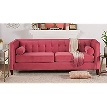 Phenomenal Jennifer Taylor Home Jack Collection Modern Hand Tufted Upholstered Sofa With 2 Bolster Pillows And Hand Finish Legs Garnet Rose Pdpeps Interior Chair Design Pdpepsorg