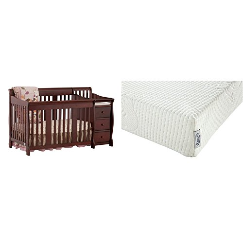 Stork Craft Portofino 4 in 1 Fixed Side Convertible Crib Changer, Cherry with Graco Natural Organic Foam Crib and Toddler Mattress