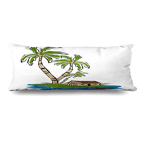 Ahawoso Body Pillows Cover 20x60 Inches Turquoise Blue Palm Retro Tropical Island Lagoon Tiki Summer Hut Shack Brown Tree Canoe Grass Surf Decorative Zippered Pillow Case Home Decor Pillowcase