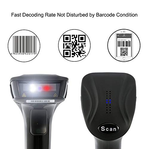 Barcode Scanner 2D Screen Wireless Bluetooth USB QR UPC Aztec Data Matrix  PDF417 1D 2D Bar Code Scan Gun POS for Android iOS by FREESOO