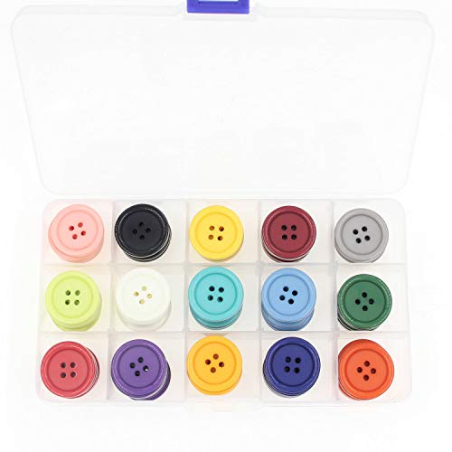 1Inch (25mm) Sewing Flatback Resin Buttons for DIY Craft 15 Colors Multi Pack of 90 with Box (Each Color 6 pcs) Leekayer