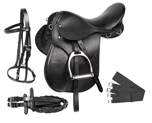 PREMIUM BLACK LEATHER ENGLISH ALL PURPOSE JUMPING HORSE SADDLE TACK STARTER PACKAGE SET 17 18 (17)
