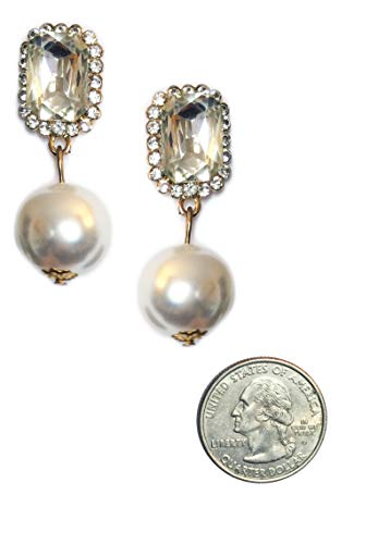 Art Deco Style Rhinestone Faux Pearl Statement Wedding Bridal Prom Bridesmaid Dangle Earrings - Faux Pearl Wedding Bridesmaid Earrings