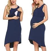 Ekouaer Women's Maternity/Nursing Nightgown Dress, Breastfeeding Nightwear (Navy Blue L)