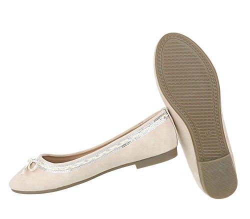 Klassische Damen Ballerinas | Flats Leder-Optik | Metallic Schuhe Glitzer Schleifen | Ballerina Schuhe Slipper | Schuhcity24 Beige