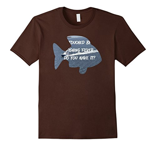 Mens Men's Touched By Fishing Fever Gift T Shirt 3XL Brown