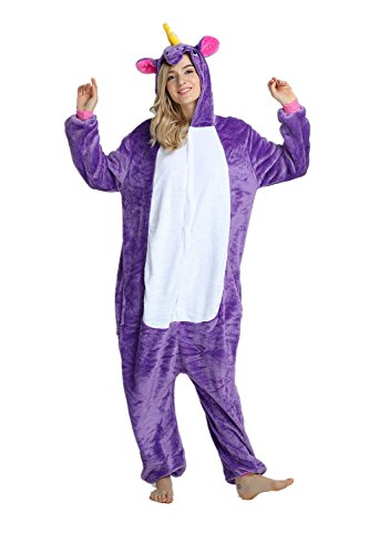 Cousinpjs Adults Onesie Unicorn Costume Sleepwear Halloween Cosplay (S, Purple)