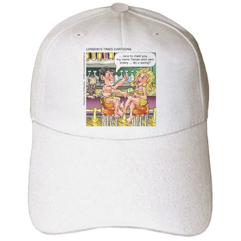Londons Times Funny Famous Cartoons - Tarzan Pick-Up Lines - Caps - Adult Baseball Cap (cap_3420_1)