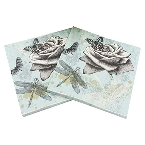 Amosfun 40pcs Printing Napkin Beautiful Rose Dragonfly Butterfly Printing Napkin for Party Gathering Festival -