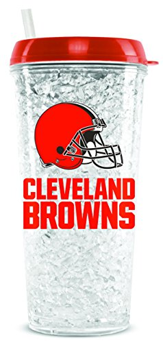 (NFL Cleveland Browns 16oz Crystal Freezer Tumbler with Lid and Straw)