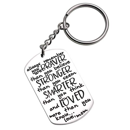 Brush Finish Dog Tag - LParkin 2019 Graduation Gift Keychain for Daughter Son from Mom Motivation Keychain You are Braver Than You Believe Stronger Than You Seem Smarter Than You Think (Keychain)