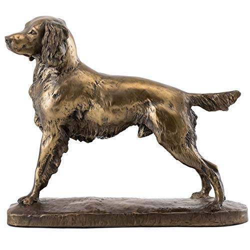 Top Collection English Springer Spaniel Dog Statue - Hand Painted Canine Sculpture in Premium Cold Cast Bronze - 7.25-Inch Collectible Animal Home Decor Figurine