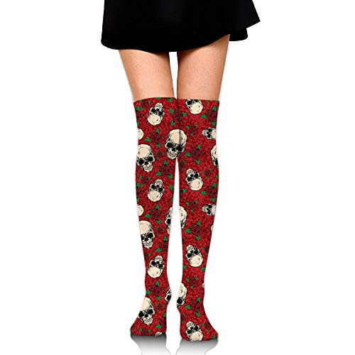 RobotDayUpUP Skull Rose Abstract Womens Long Socks,Classic Girls Skirt Stockings Knee Thigh Socks for Running Soccer Sports Dance Yoga Cheerleader Hiking Outdoor