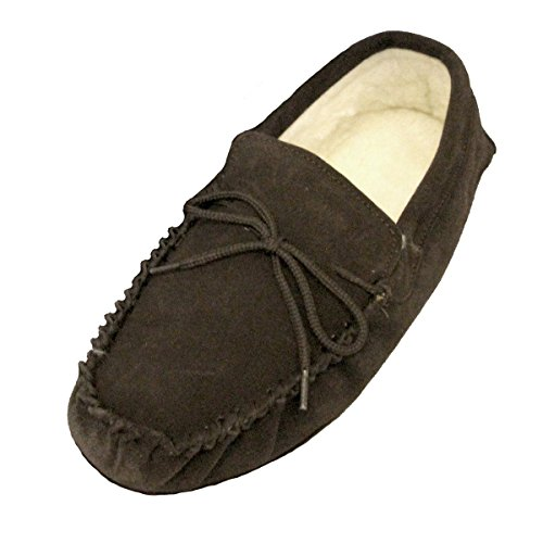 Unisex Lambswool Moccasin with Soft Sole - Brown qSSkr