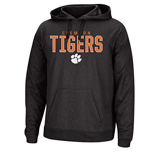Top of the World NCAA Men's Clemson Tigers Dark Heathered Foundation Poly Hoodie Black Heather Large