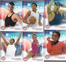 2016 Topps USA Olympic & Paralympic Team Hopefuls Complete Mint 74 Card Set Hand Collated Set. Loaded with Our Top Athletes Including Missy Franklin, Michael Phelps, Ryan Lochte, Gabby Douglas, Abby Wambach, Simone Biles, April Ross, Candace Parker, Maya Moore, Megan Rapinoe, Sam Mikulak, Kayla Harrison, Aly Raisman and Many Others! (Phelps Cards)