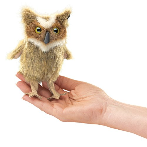Folkmanis Mini Great Horned Owl Finger Puppet (Owl Babies Puppets)