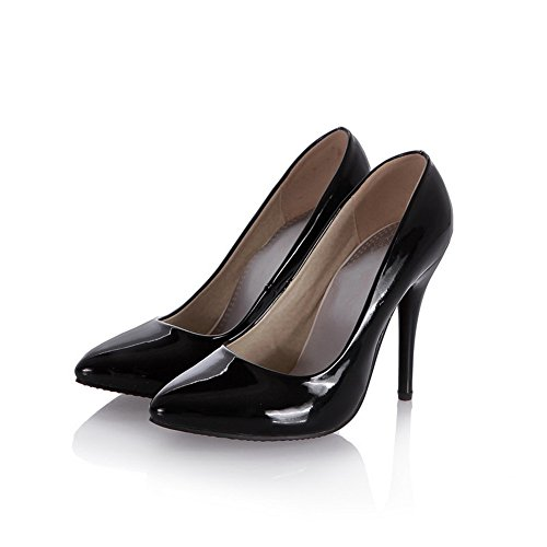 BalaMasa Girls Stiletto Low-Cut Uppers Mule Patent Leather Pumps-Shoes Black 6tgX09N