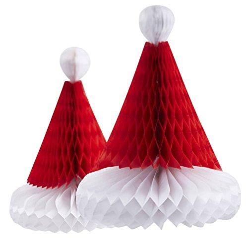 BESTOYARD Adornos navideños Colgantes Adornos Hechos a Mano Panal tisú Papel Sombreros Santa (Color al Azar)