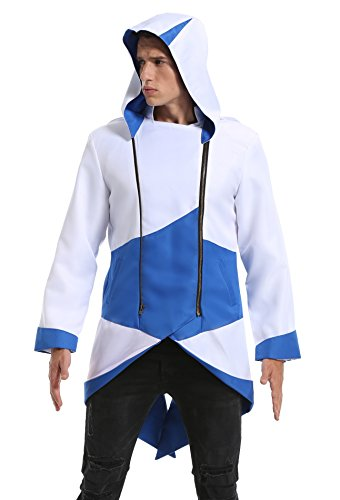 Assasins Creed Kids Costumes (LIME FLARE Cosplay Costume Hoodie/ Jacket/ Coat for Adult and Child White and Blue child s)