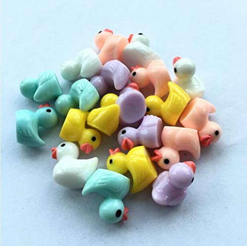 Miniature Figurines Yellow Ducklings Fairy Garden 20Pcs Ornaments Slime Charms Home Decorations Landscape Mini Resin Statue Resin DIY Craft Figurine (Mix)