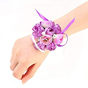EBTOOLS Bride Wrist Corsage Hand Flower Decor Bridesmaid Purple Wrist Flower Corsage for Wedding Prom Party Homecoming Suit Decoration 82