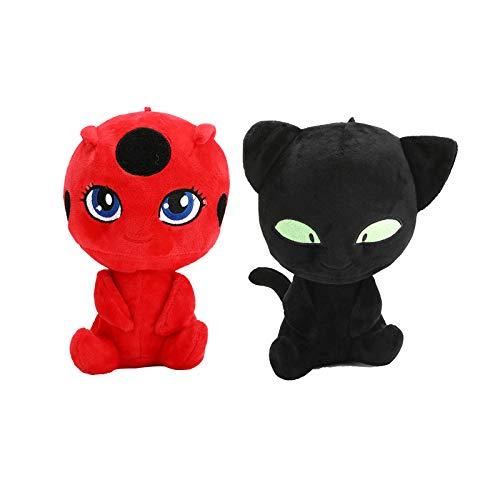 Full Moon toy 2pcs/lot Miraculous Ladybug Lady Bug & Cat Noir Plush Pendant Clip Keychain Plagg Tikki Cat Adrien Marinette Plush Stuffed Toys ()