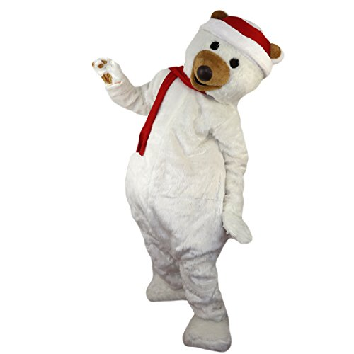 Christmas Polar Bear Mascot Costume Cartoon Character Adult Sz Real Picture