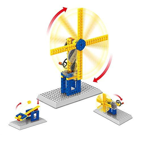 Air Fan Mechanical Gears Contraptions Craft Kit - Technic Construction Building Blocks | Children Science Engineering Educational STEM Creative Toys,3 in 1(Frustration Free Package) (Windmill)