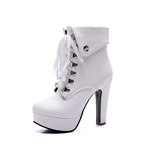 AmoonyFashion Womens Round Closed Toe Low-Top High-Heels Solid PU Boots White kqaYPsC
