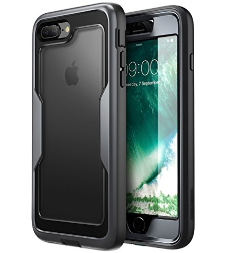 i-Blason case for iPhone 8 Plus 2017/iPhone 7 Plus, [Magma Series] [Heavy Duty Protection] Shock Reduction/Full Body Bumper Case with Built-in Screen Protector(Black)