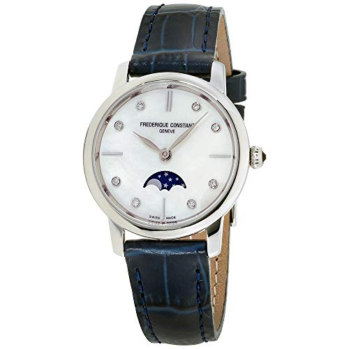 Frederique Constant Slimline Mother of Pearl Dial Leather Strap Ladies Watch FC-206MPWD1S6XG (Certified Refurbished)