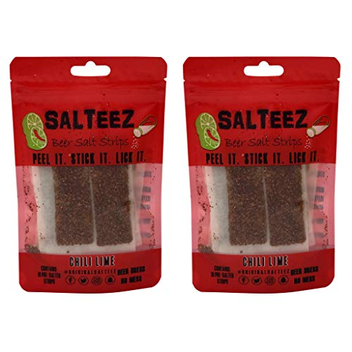 Salteez Beer Salt Strips - Real Chili Lime Strips That Stick to Your Bottle, Can, or Cup - For a Perfectly Dressed Beer Anytime Anywhere! (Chili Lime, 2 Pack)