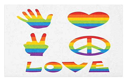 Ambesonne Pride Doormat, Various in Rainbow Colors Peace Hand Signs Heart Shape Gay Community, Decorative Polyester Floor Mat with Non-Skid Backing, 30