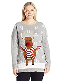 Notations Womens Plus Size Happy Rudolph Ugly Christmas Sweater with 3d Nose